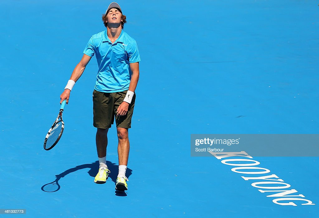 Jordan Thompson of Australia reacts during his match against Richard Gasquet of France during day one of the 2014 AAMI Classic at Kooyong on January...