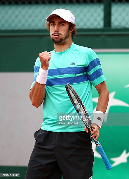 Jordan Thompson of Australia reacts during the Men's Singles first round match against Laslo Djere of Serbia on day two of the 2016 French Open at...