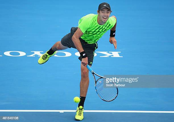 Jordan Thompson of Australia serves during his match against Feliciano Lopez of Spain during day three of the 2015 Priceline Pharmacy Classic at...
