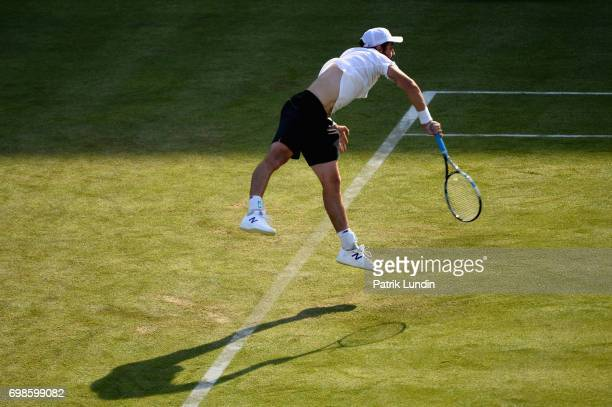 Jordan Thompson of Australia serves during the mens singles first round match against Andy Murray of Great Britain on day two of the 2017 Aegon...