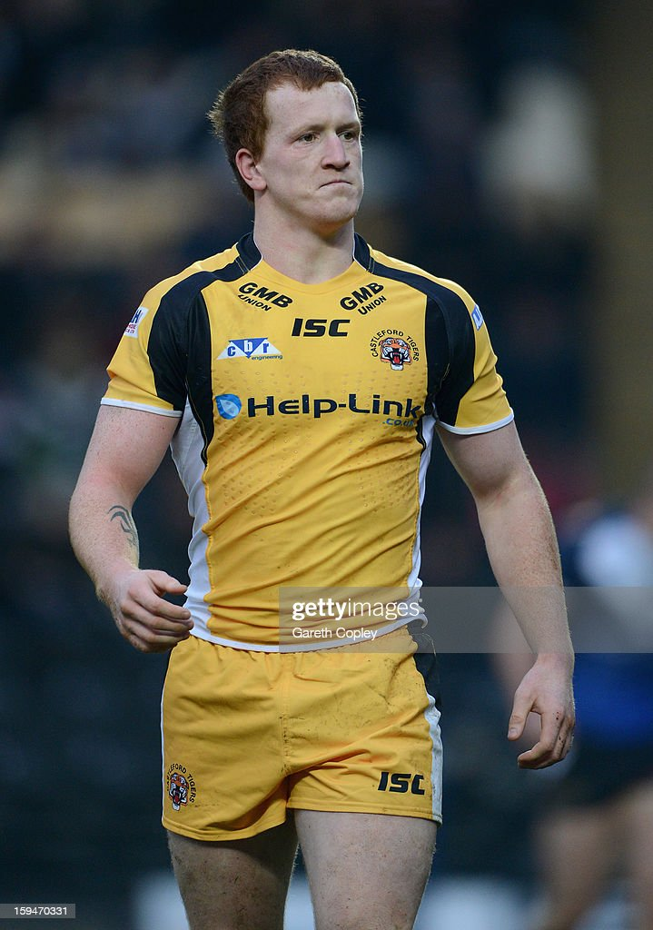 Jordan Thompson of Castleford during a pre-season friendly match between Hull FC and Castleford Tigers at The KC Stadium on January 13, 2013 in Hull, England.