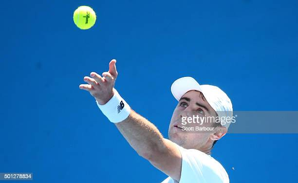 Jordan Thompson of Victoria serves during his 2016 Australian Open Men's Singles Play Off match against Matt Reid of New South Wales at Melbourne...