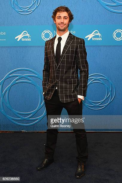 Jordan Thompson poses as he arrives ahead of the 2016 Newcombe Medal at Crown Palladium on November 28 2016 in Melbourne Australia