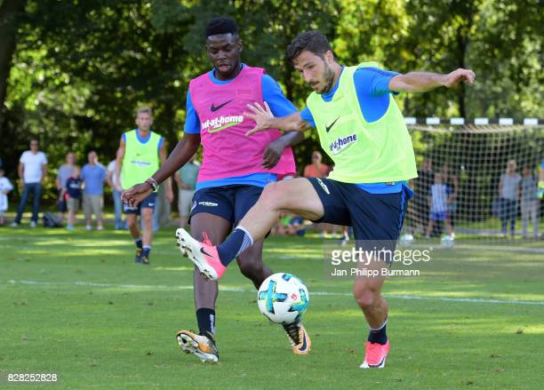 Jordan Torunarigha and Mathew Leckie of Hertha BSC during a training session on August 9 2017 in Berlin Germany