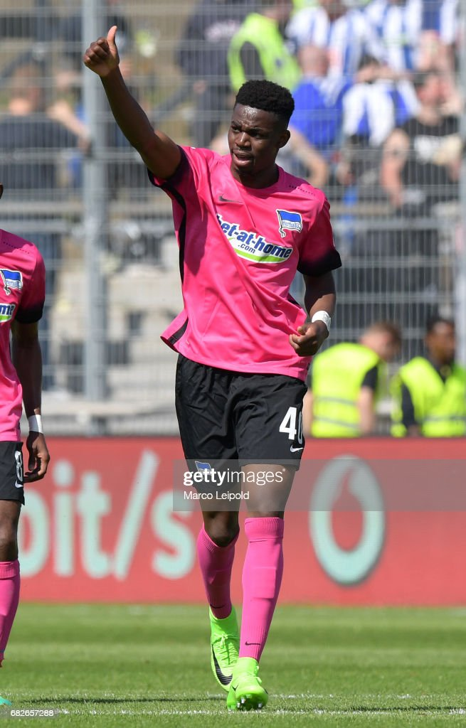 Jordan Torunarigha of Hertha BSC celebrates after scoring the 0:2 during the game between SV Darmstadt 98 and Hertha BSC on may 13, 2017 in Darmstadt, Germany.