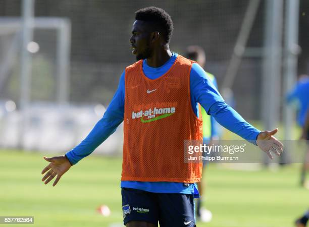 Jordan Torunarigha of Hertha BSC gestures during the training on august 23 2017 in Berlin Germany