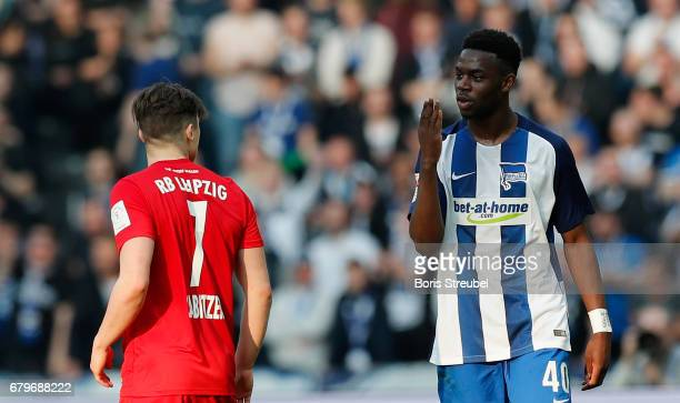 Jordan Torunarigha of Hertha BSC throws kisses to Marcel Sabitzer of RB Leipzig during the Bundesliga match between Hertha BSC and RB Leipzig at...