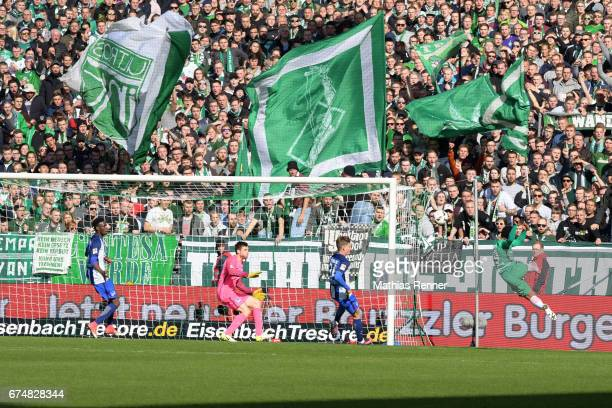 Jordan Torunarigha Rune Almenning Jarstein Maximilian Mittelstaedt of Hertha BSC and Serge Gnabry of Werder Bremen during the game between Werder...