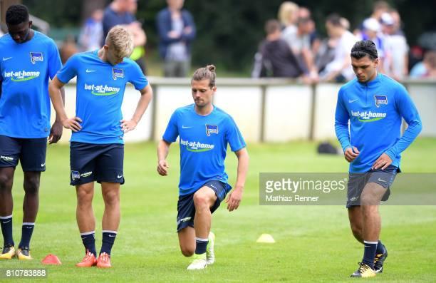 Jordan Torunarigha Sinan Kurt Valentin Stocker and Karim Rekik during the first day of the training camp of Hertha BSC on July 8 2017 in Bad Saarow...