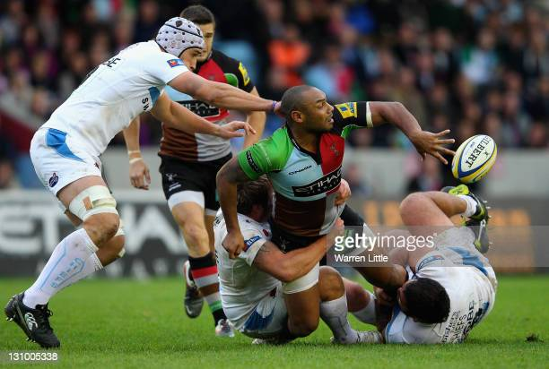 Jordan TurnerHall of Harlequins is tackled during the Aviva Premiership match between Harlequins and Exeter Chiefs at Twickenham Stoop on October 29...