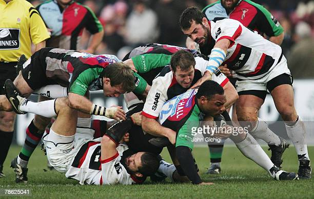 Jordan TurnerHall of Harlequins tries to ground the ball for a try during the Guinness Premiership match between Harlequins and Saracens at the Stoop...