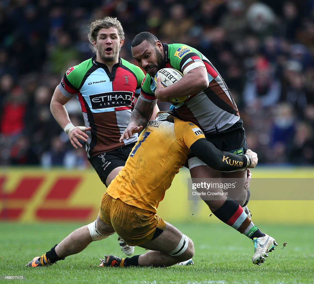 <a gi-track='captionPersonalityLinkClicked' href=/galleries/search?phrase=Jordan+Turner-Hall&family=editorial&specificpeople=2375230 ng-click='$event.stopPropagation()'>Jordan Turner-Hall</a> of Quins is tackled by Wasps' James Haskell during the Aviva Premiership match between Harlequins and London Wasps at Twickenham Stoop on Febuary 09, 2014 in London, England.