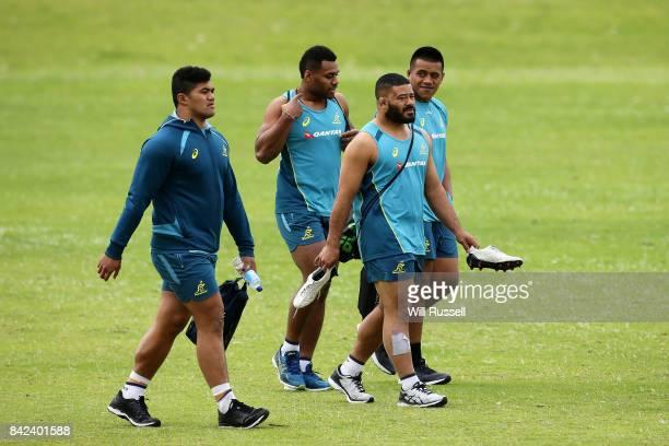 Jordan Uelese Samu Kerevi Tolu Latu Allan Alaalatoa arrive during an Australian Wallabies training session at McGillivray Oval on September 4 2017 in...