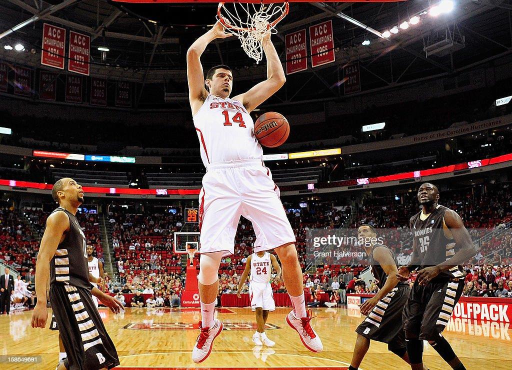 Jordan Vandenberg #14 of the North Carolina State Wolfpack dunks against the St. Bonaventure Bonnies during play at PNC Arena on December 22, 2012 in Raleigh, North Carolina. North Carolina State won 92-73.