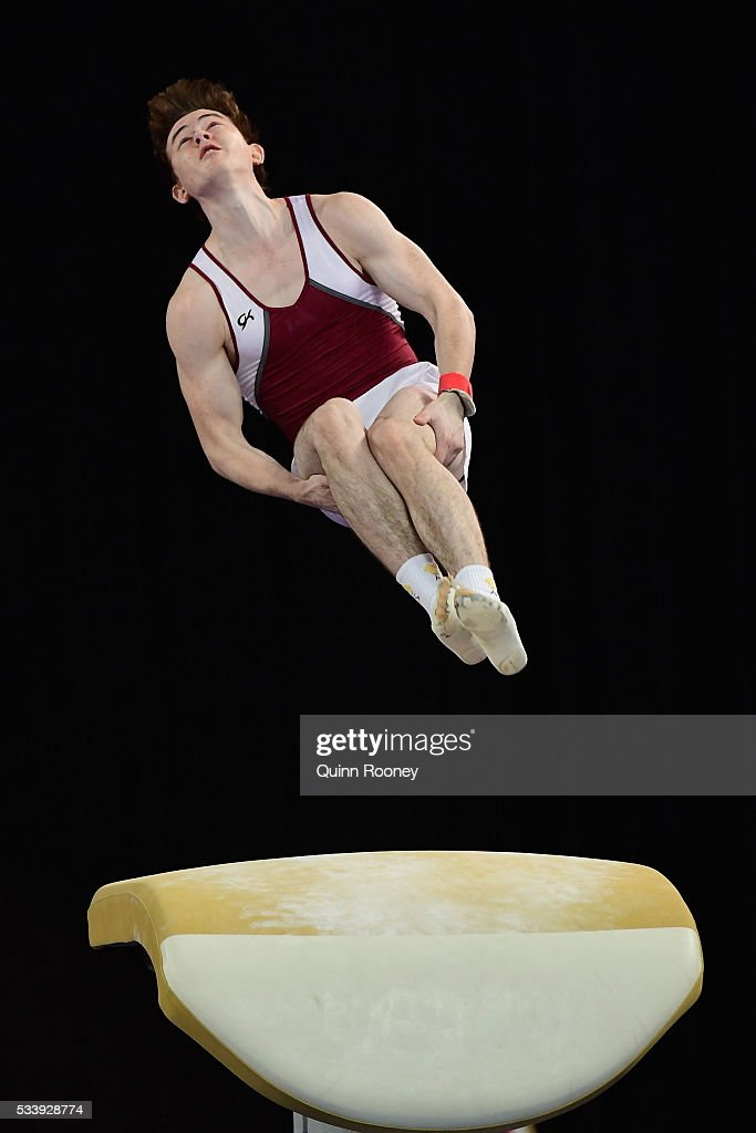 Jordan Vander Wal of Queensland competes on the vault during the 2016 Australian Gymnastics Championships at Hisense Arena on May 23, 2016 in Melbourne, Australia.