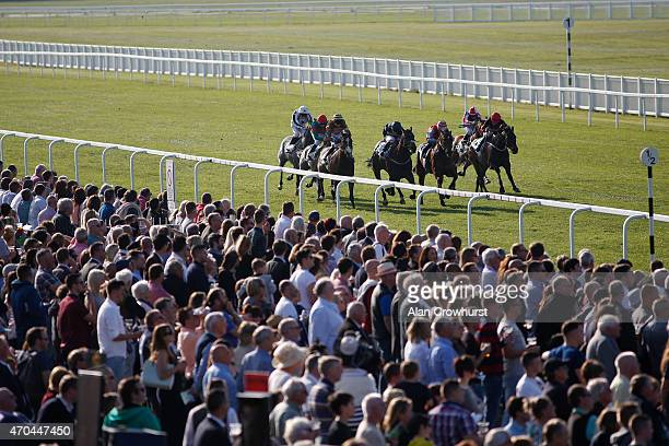 Jordan Vaughn riding Midnight Rider win The unibetcouk Daily Enhanced Place Terms Handicap Stakes at Windsor racecourse on April 20 2015 in Windsor...