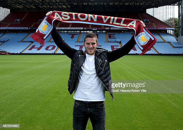 Jordan Veretout is unveiled at Villa Park on July 30 2015 in Birmingham England