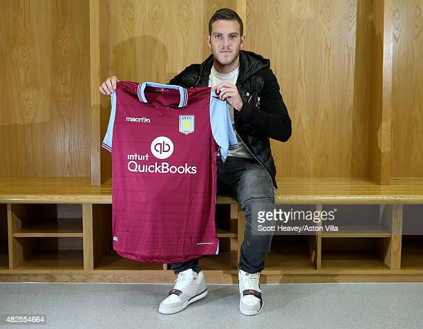Jordan Veretout is unveiled at Villa Park on July 30 2015 in Birmingham England