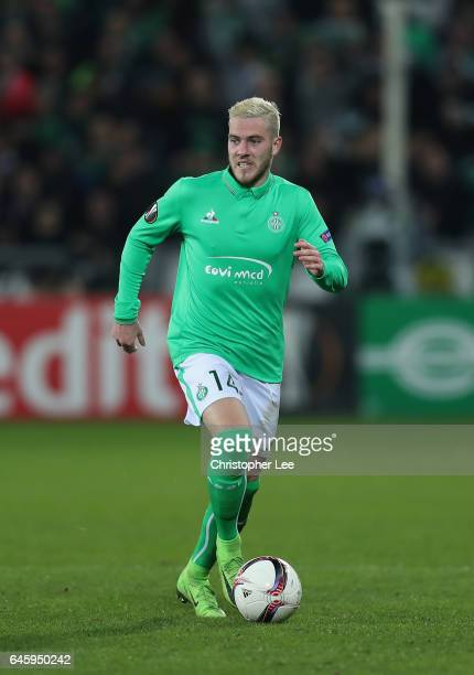 Jordan Veretout of AS SaintEtienne in action during the UEFA Europa League Round of 32 second leg match between AS SaintEtienne and Manchester United...