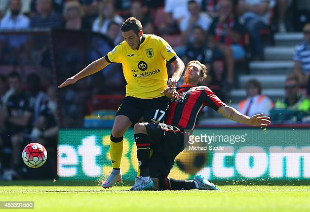 Jordan Veretout of Aston Villa and Dan Gosling of Bournemouth compete for the ball during the Barclays Premier League match between AFC Bournemouth...