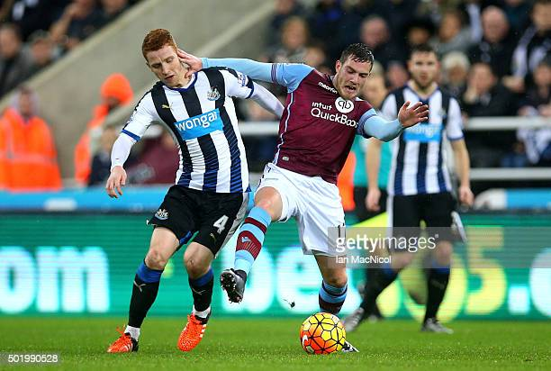 Jordan Veretout of Aston Villa and Jack Colback of Newcastle United compete for the ball during the Barclays Premier League match between Newcastle...