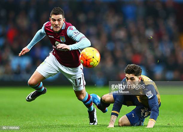 Jordan Veretout of Aston Villa challenges for the ball with Hector Bellerin of Arsenal during the Barclays Premier League match between Aston Villa...