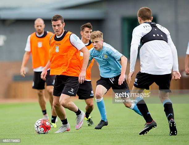 Jordan Veretout of Aston Villa in action during a Aston Villa training session at the club's training ground at Bodymoor Heath on August 07 2015 in...