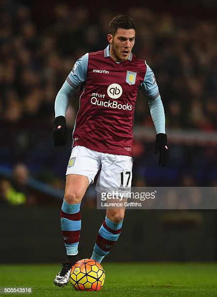 Jordan Veretout of Aston Villa in action during the Barclays Premier League match between Aston Villa and Leicester City at Villa Park on January 16...
