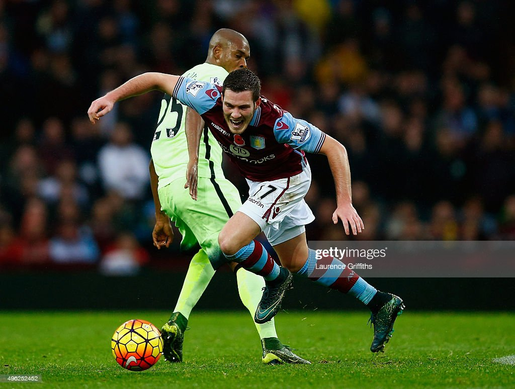 <a gi-track='captionPersonalityLinkClicked' href=/galleries/search?phrase=Jordan+Veretout&family=editorial&specificpeople=7591514 ng-click='$event.stopPropagation()'>Jordan Veretout</a> of Aston Villa is tackled by <a gi-track='captionPersonalityLinkClicked' href=/galleries/search?phrase=Fernandinho+-+Soccer+Player+-+Manchester+City&family=editorial&specificpeople=10093285 ng-click='$event.stopPropagation()'>Fernandinho</a> of Manchester City during the Barclays Premier League match between Aston Villa and Manchester City at Villa Park on November 8, 2015 in Birmingham, England.