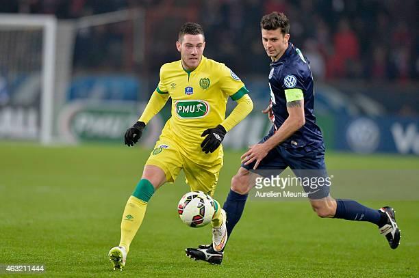 Jordan Veretout of FC Nantes Thiago Motta of Paris Saint Germain in action during the 1/8 Finals of the French League Cup at Parc des Princes on...