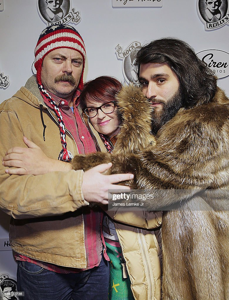 Jordan Vogt-Roberts Megan Mullally and Nick Offerman attend 'Toy's House' Official Cast After-Party Sponsored By Siren on January 19, 2013 in Park City, Utah.