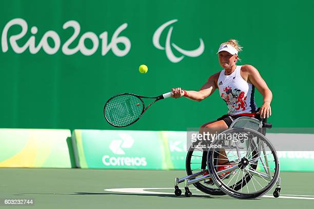 Jordan Whiley of Great Britain during the women's wheelchair tennis singles quarterfinal against Diede de Groot of Netherland at the Rio de Janeiro...