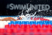 Jordan Wilimovsky of the United States competes in a heat for the Men's 1500 Meter Freestyle during Day Seven of the 2016 US Olympic Team Swimming...