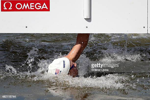 Jordan Wilimovsky of the United Sates competes in the Men's 10km Open Water Swimming Final on day three of the 16th FINA World Championships at the...