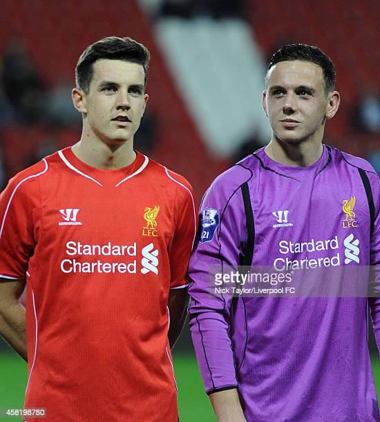 Jordan Williams and goalkeeper Danny Ward of Liverpool before the Barclays Premier League Under 21 fixture between Liverpool and Tottenham Hotspur at...