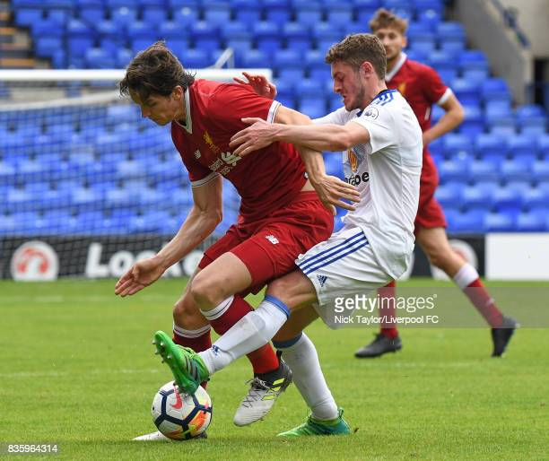 Jordan Williams of Liverpool and Elliot Embleton of Sunderland in action during the Liverpool v Sunderland U23 Premier League game at Prenton Park on...
