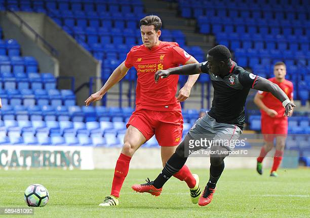 Jordan Williams of Liverpool and Olufela Olomola of Southampton in action during the Liverpool v Southampton U23 game at Prenton Park on August 14...