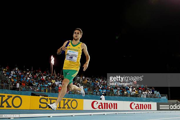 Jordan Williamsz of Australia competes during the final of the men's 4 x 800 metres on day one of the IAAF World Relays at Thomas Robinson Stadium on...