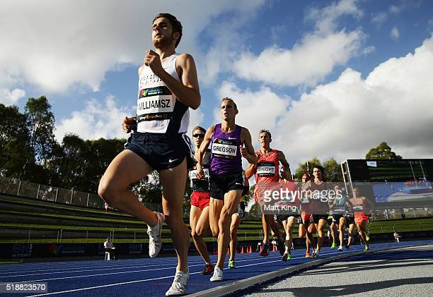 Jordan Williamsz of Victoria leads out Ryan Gregson of Victoria in the Men's 1500m final during the Australian Athletics Championships at Sydney...