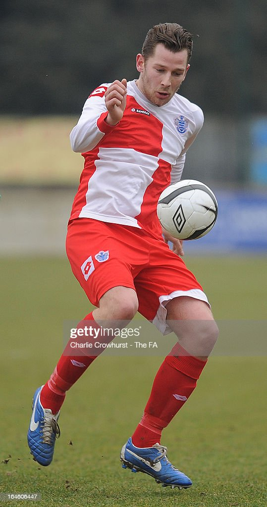 Jordan Willis of Barnes Albion attacks during the FA Sunday Cup Semi Final match between Barnes Albion and Upshire at Wheatsheaf Park on March 24, 2013 in Staines, England,