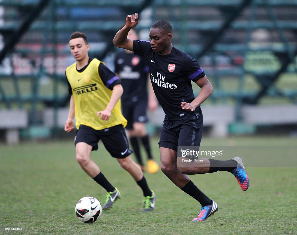 Jordan Wynter of Arsenal in action during a training session prior to the NextGen Series match between Inter Milan and Arsenal at Inter Milan Training Ground, Centro Sportivo Giacinto Facchetti on March 05, 2013 in Milan, Italy.