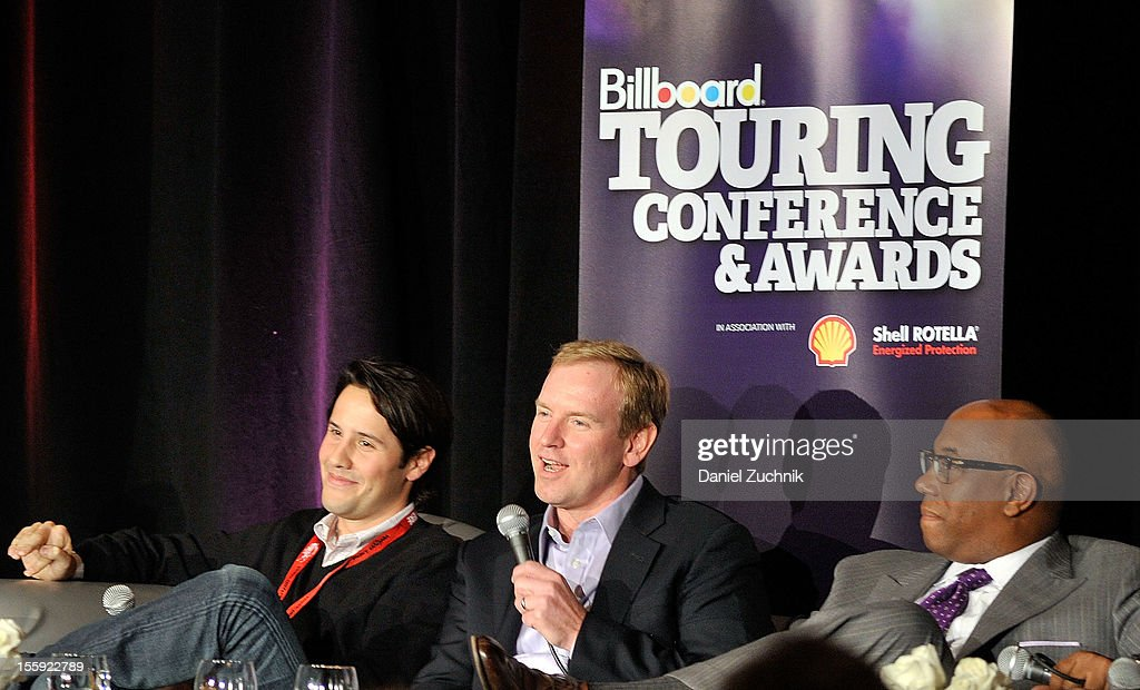 Jordan Zachary, Charlie Walker and Charles J. Johnson attend the 2012 Billboard Touring Conference & Awards Keynote Address at Roosevelt Hotel on November 8, 2012 in New York City.