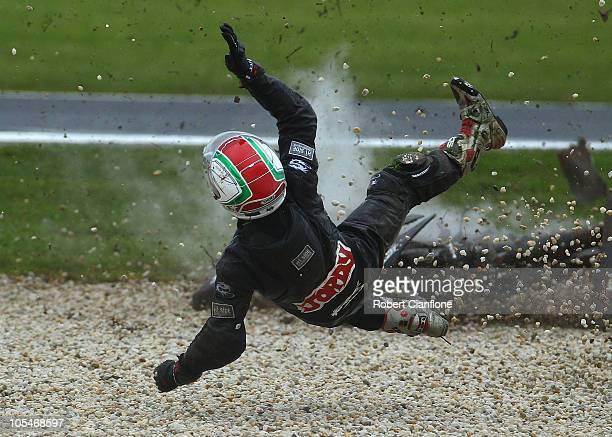 Jordan Zamora of Australia and rider of the Eurotwins Brisbane Honda crashes out during 125cc practice for the Australian MotoGP which is round 16 of...