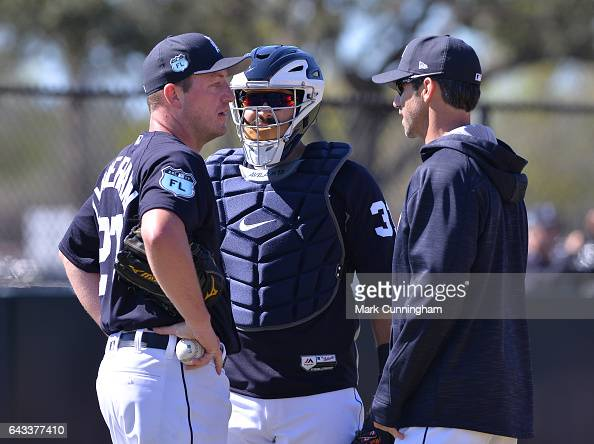 Jordan Zimmermann Alex Avila and manager Brad Ausmus of the Detroit Tigers talk during Spring Training workouts at the TigerTown complex on February...