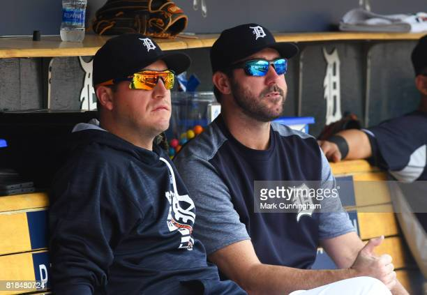 Jordan Zimmermann and Justin Verlander of the Detroit Tigers look on from the dugout during the game against the Kansas City Royals at Comerica Park...