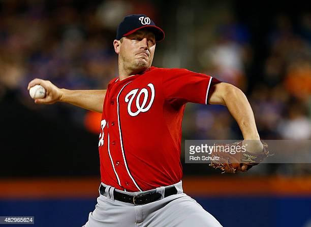 Jordan Zimmermann delivers a pitch against the New York Mets during the first inning on August 2 2015 at Citi Field in the Flushing neighborhood of...