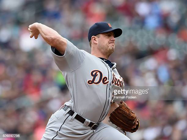 Jordan Zimmermann of the Detroit Tigers delivers a pitch against the Minnesota Twins during the first inning of the game on April 30 2016 at Target...