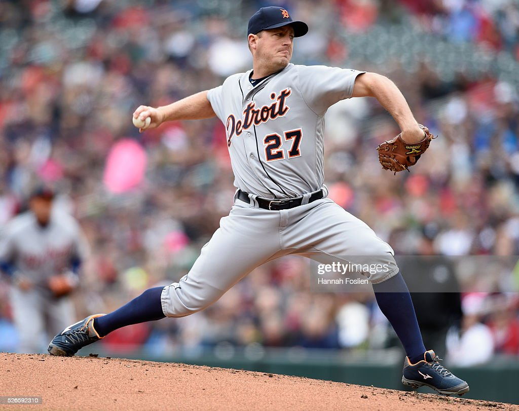 Jordan Zimmermann #27 of the Detroit Tigers delivers a pitch against the Minnesota Twins during the first inning of the game on April 30, 2016 at Target Field in Minneapolis, Minnesota.