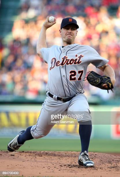 Jordan Zimmermann of the Detroit Tigers delivers in the first inning of a game against the Boston Red Sox at Fenway Park on June 9 2017 in Boston...
