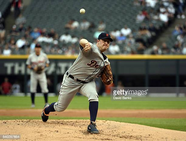 Jordan Zimmermann of the Detroit Tigers pitches against the Chicago White Sox during the first inning of the Detroit Tigers on June 14 2016 at U S...